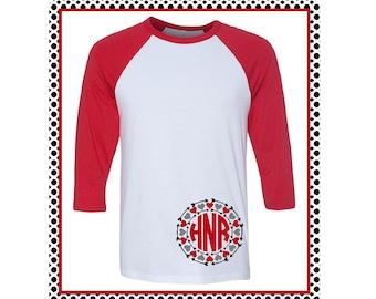 Monogrammed Valentine's Day Shirt with Hearts and Arrows / Valentine T-shirt / Monogram Soft Unisex Raglan / Baseball T-Shirt- (B3200) #1351