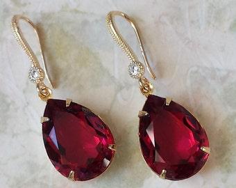 Swarovski Ruby Crystal Drop Earrings Swarovski Red Crystal Earrings Swarovski Rhinestone Earrings Swarovski Red Drop Earrings Gold or Silver