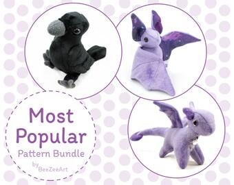 Most Popular Plush Sewing Pattern Bundle - Dragon, Crow/Raven, Bat