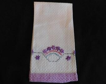 Pretty Vintage Embroidered Purple and White Tea Towel - Vintage Tea Towels, Kitchen, Embroidery, Vintage Kitchen Decor