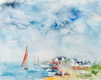 Original  watercolor of  seascape in Brittany, boats at Batz-sur-Mer - original painting of the ocean in France  - houses and sailboats