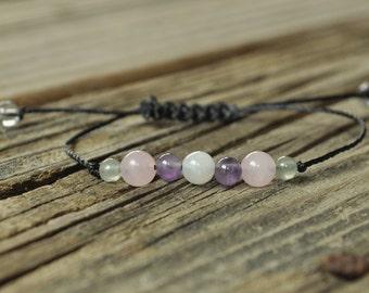 Moonstone, Amethyst, Rose Quartz, Aventurine, Meditation Bracelet, Healing Jewelry, Minimalist Jewelry, Yoga Bracelet, Fertility Bracelet