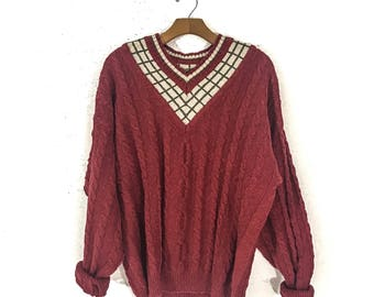 90s Clothing 90s VINTAGE Clothing SWEATERS for Women Sweater Men CABLE Knit Sweater Women College Sweater Preppy Sweater Oversized Sweater L