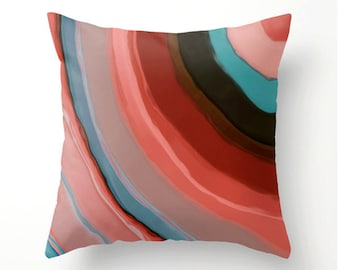 Cayenne and Turquoise decorative throw pillow, dorm decor, pillow cover, cushion cover, scatter cushion, pillow cover, painted desig pillow