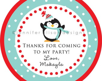 Penguin Holiday Winter Wonderland STICKERS / Cupcake Topper / labels /Thank You Tag / various sizes