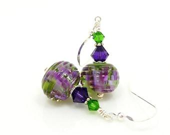 Purple Green Earrings, Purple Earrings, Lampwork Earrings, Glass Bead Earrings, Glass Earrings, Glass Bead Jewelry, Unique Earrings