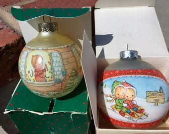 "Vintage 80's ""BETSEY CLARK""  Glass Ornament  Set of 2"