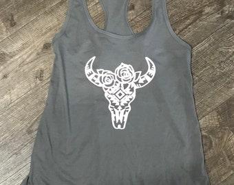 Aztec Bull Skull Tank Top