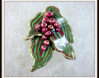 Leaves and Berries Pendant, Multi Colored Leaf, Mauves Greens, Lightweight Pendant, Dainty Je
