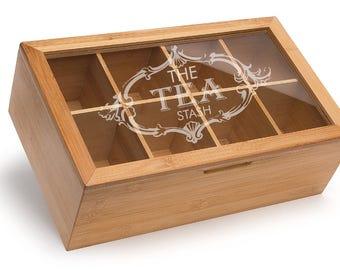 Personalized Tea Box, Engraved Gift Box, Kitchen Storage, Compartment box, Kitchen Accessories