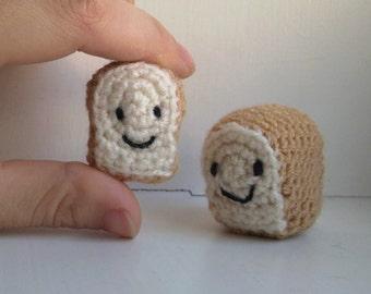 Kawaii Bread Loaf & Slice -- cute crochet food - stuffed play food - crochet bread - amigurumi food - toy sliced bread - plush toy food