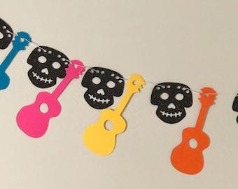 Coco Inspired Banner, Guitar & Skull Party Banner, Party Garland