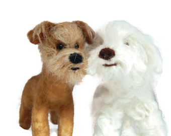 TWO Custom needle felted dog  - needle felted original puppy soft sculpture -  small size - Toy Dog terrier - Crossbreed sculpture