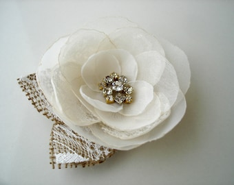 Rustic Flower Brooch Corsage, Burlap Lace  Wedding  Accessory with Crystals, Fabric Flower Brooches