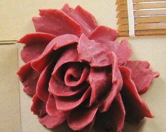 5 pcs - Maroon rose cabochon