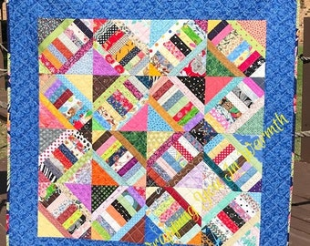 "MEMORIAL DAY SALE A Scrap Happy Delight In This 40.5"" X 40.5"" Strings and Steps Quilt"