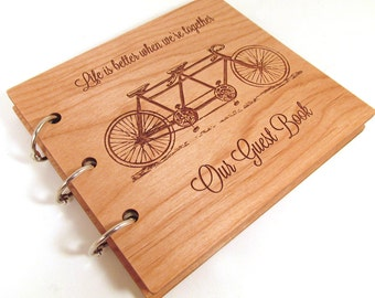 Tandem Bike Wedding Guest Book - Ready to Ship - Real Wood Covers