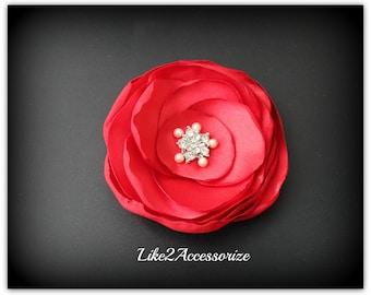 Red Bridal Flower Hair Clip Wedding Hair Accessories Bridesmaid Gift Bridal Headpiece Bridal Hair Flowers for Hair Wedding Headpiece