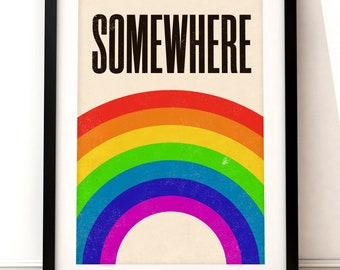 Wizard of Oz inspired print, Wizard of Oz art print, film art print, Wizard of Oz, type print, rainbow print, Somewhere over the Rainbow