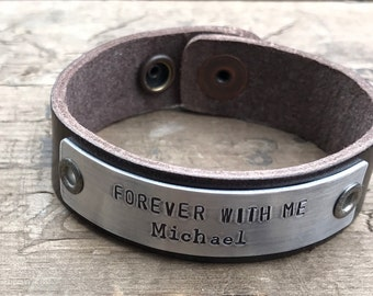 Memorial Bracelet In Memory Personalized Tribute Leather Bracelet Custom Remembrance Gift