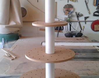 4 Tier Round Stand For Push Pops. Unfinished. Holds 93 Push Pops.