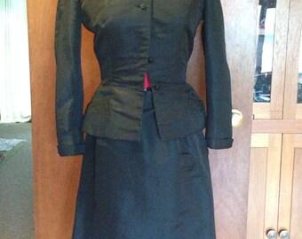 Vintage 1940's Silk Black Branell Wiggle Suit Beads and Rhinestones
