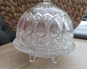 Molded glass Bell and his dish