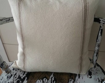 Pillow Cover | Cream Grain Sack Pillow | Zippered Pillow Cover | Tan Stripe Grain Sack Pillow Cover