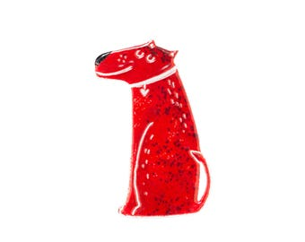 Red Dog Brooch -Illustrated Brooch - Stainless Steel