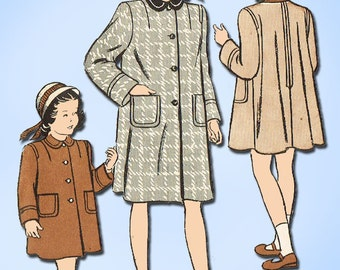 1940s Vintage Butterick Sewing Pattern 4261 Toddler Girls Flared Coat Size 6
