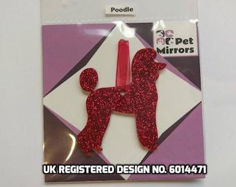 Glitter acrylic pet trim Poodle Christmas decoration - 9 colour choices