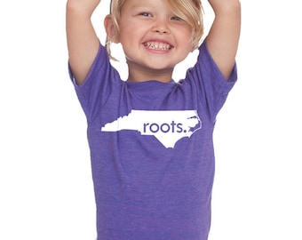 North Carolina Home State 'Roots'  or 'Made' Tri Blend Toddler, Kids, Youth Track T-Shirt - Sizes 2T, 4T, 6, 8, 10, 12