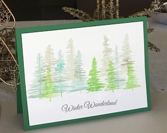 CHRISTMAS Trees Winter Wonderland Holiday Card