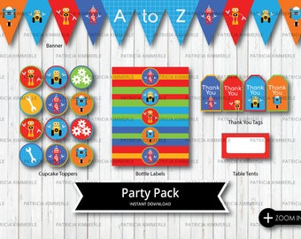 Printable Party Pack, Robot Party, Robot Birthday, First Birthday, Robots, Party Robot, Gears Topper, Tools Topper,  INSTANT DOWNLOAD