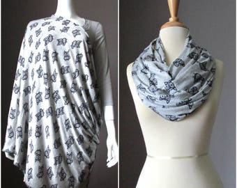 Nursing  scarf, breastfeeding cover, cover for breast feeding, nursing cover up, nursing infinity scarf, nursing cover , Grey scarf