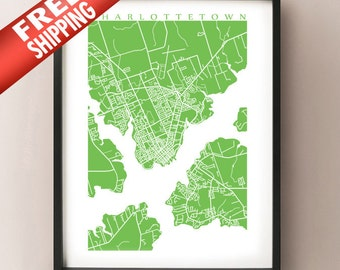 Charlottetown Map - PEI Art Poster