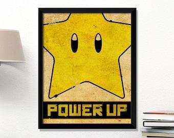 Super Mario star, video game poster, Nintendo poster, vintage games