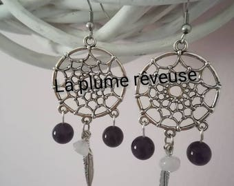 Dream catcher earrings made decorated with rose quartz and Amethyst