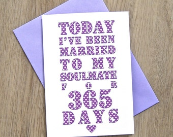 Days I've Been Married to Soulmate  Card – Personalised Anniversary Card – Card for Husband – birthday card for husband – Valentine's Day