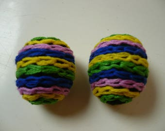 set of multicolored wool embroidered beads