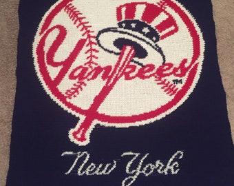 NY Yankees Crocheted Afghan