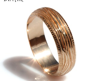 Woodgrain wedding band, 14k rose Gold textured wedding band, men gold band, tree bark texture band, men rounded band, comfort fit gold ring