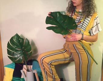 Vintage Pajama pants with Ochre and Black & White Stripes