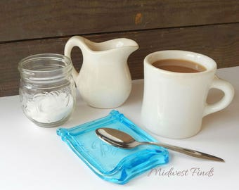 Blue Melted Mason Jar Spoon Rest, wide mouth pint jar, ring dish, tea bag holder, coffee bar accessory, gift box included