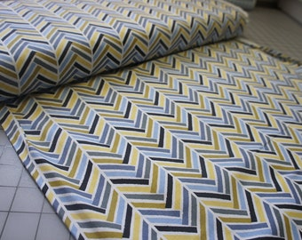 Broken Herring bone in Blue, from Madrona Road collection by Violet Craft by the Yard