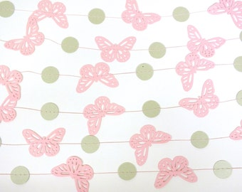 Shabby Chic Butterfly Paper Garland, Pink and Sage Green Batterflies, Bridal Shower, Baby Shower, Party Decorations, Birthday Decoration
