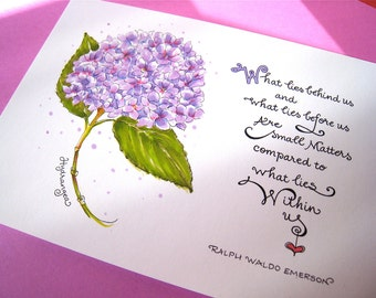 Hortensia Estampe - Emerson citation - devise - Encouragement Art - main lettrage impression