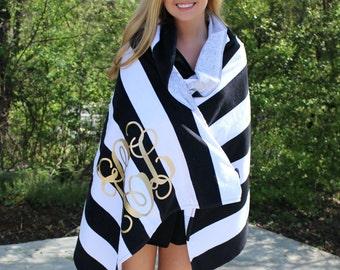 Monogram Beach Towel Stripe Cabana Personalized Glitter Towel