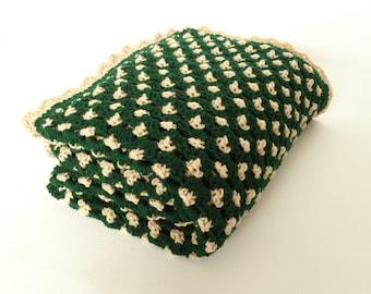 Crochet Afghan Blanket Throw Hunter Green Buff Beige - Home Decor, Wedding Gift, Adult Afghan, Couch Sofa Throw, Bedspread