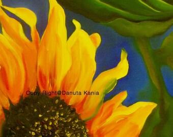 "Art Print of Abstract Sunflower. Print  from my Original Oil Painting.  Sunflower Closeup on  8.5"" x 11"" sheet of heavy-weight art paper."